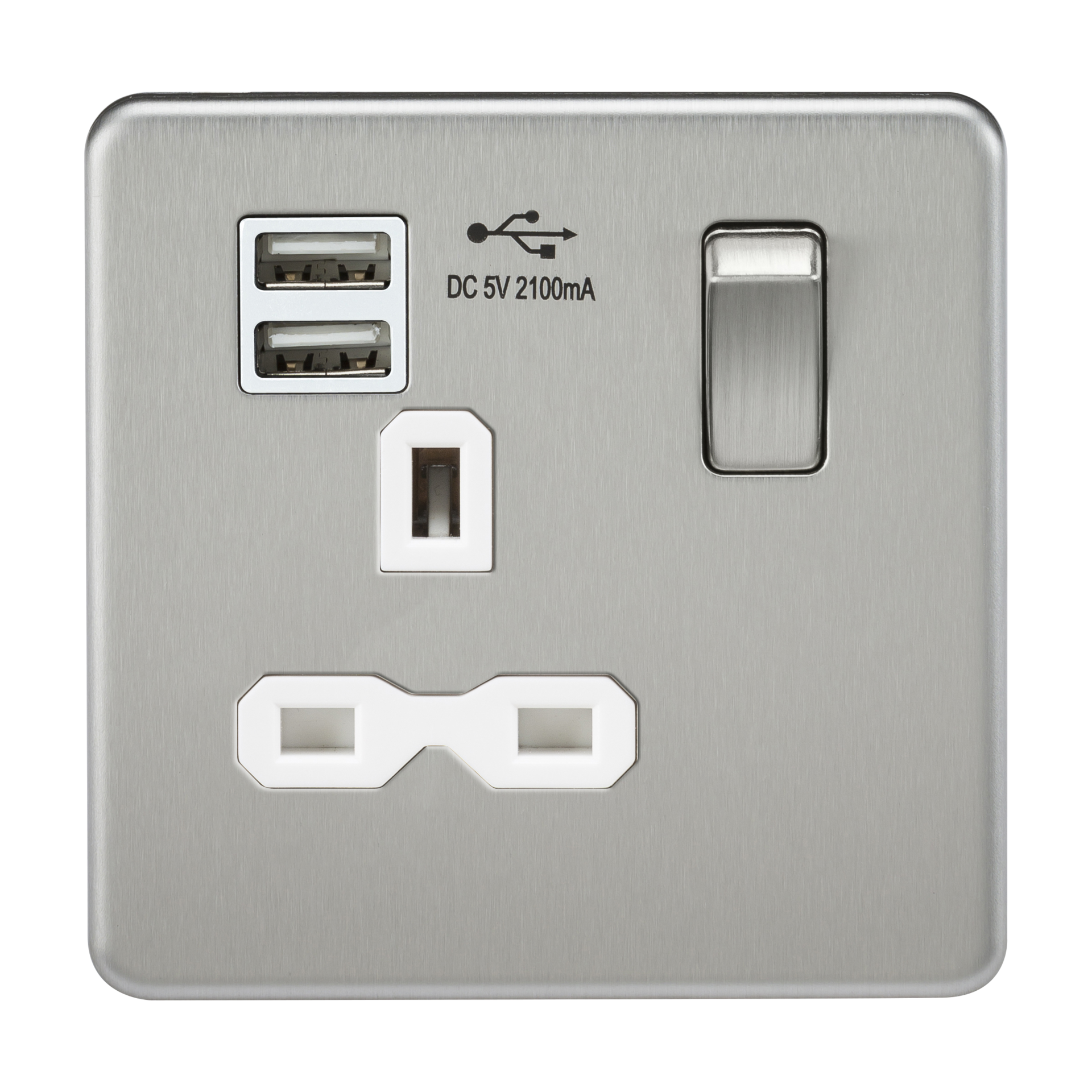 SCREWLESS 13A 1G SWITCHED SOCKET WITH DUAL USB CHARGER - BRUSHED CHROME WITH WHITE INSERT