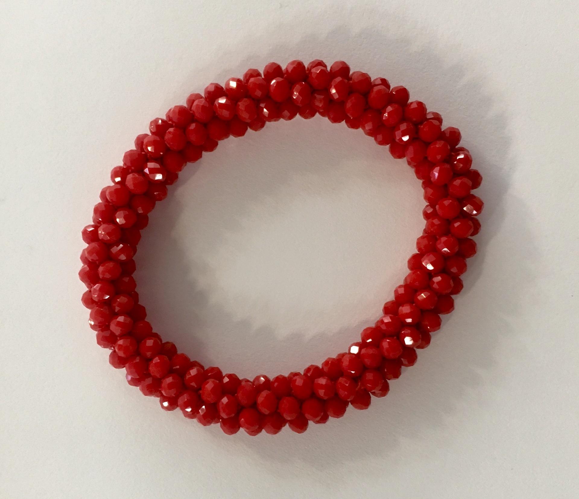 Red beaded crochet bracelet