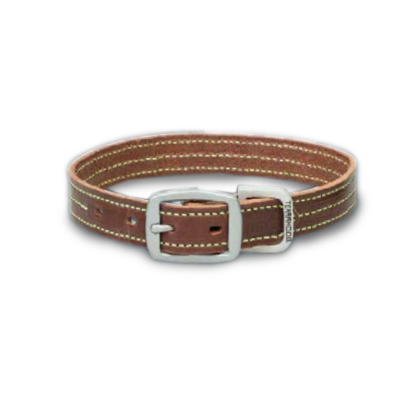 Weaver Dog Collar Bridle Leather with Colour Stitching