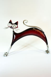 Red or black Stretching Cat