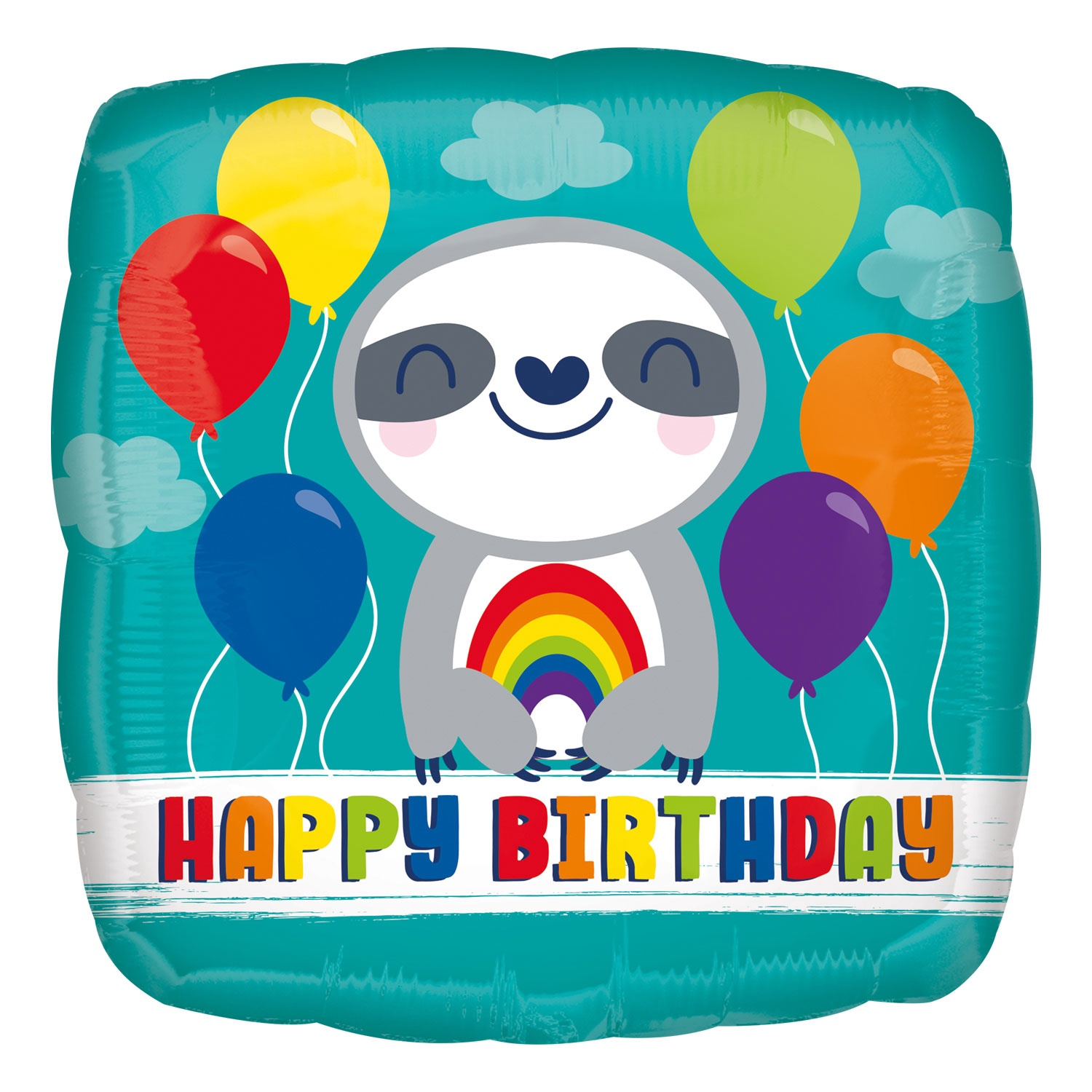 HAPPY BIRTHDAY SLOTH WITH RAINBOW FOIL BALLOON 17 INCHES
