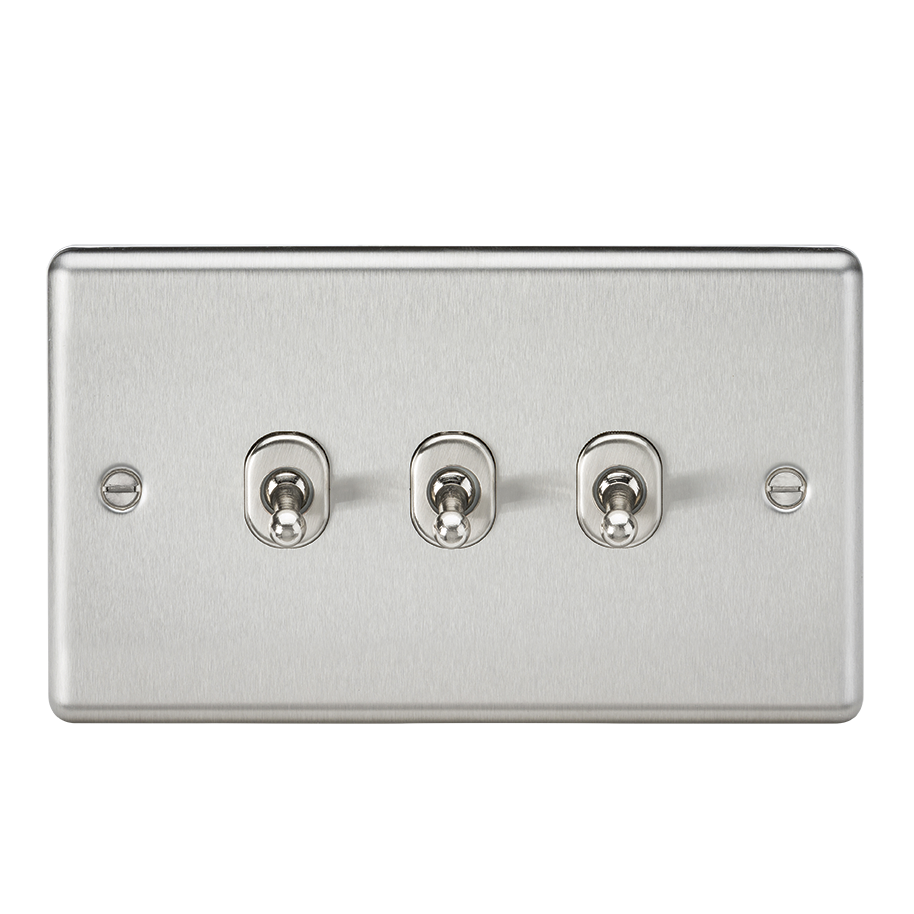 10A 3G TOGGLE SWITCH - ROUNDED EDGE BRUSHED CHROME