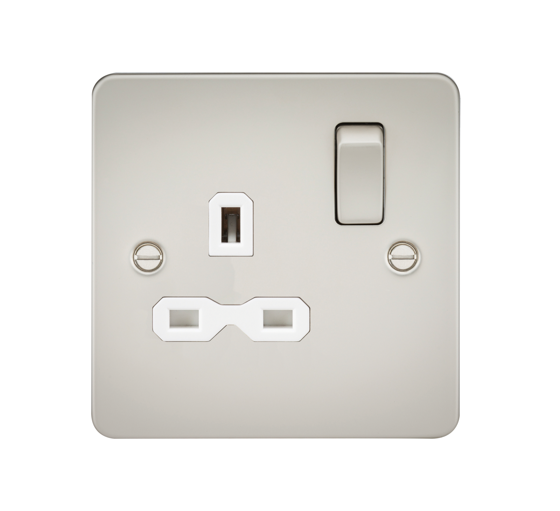 Flat plate 13A 1G DP switched socket - pearl with white insert