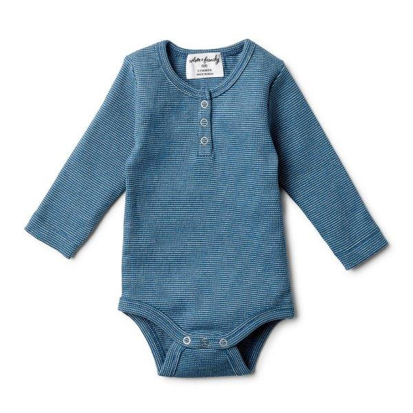 WF INK BLUE MINI STRIPE RIB LONG SLEEVE BODYSUIT