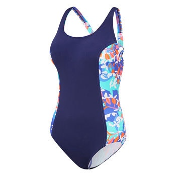 Womens Concealed D Cup Tank One Piece Wild Flowers/Mystic Blue