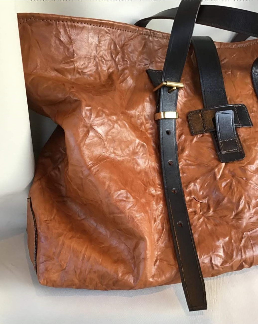 Water pressed Italian Leather Tote bag