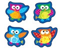 T 46322 OWLS STAR SHAPES STICKERS