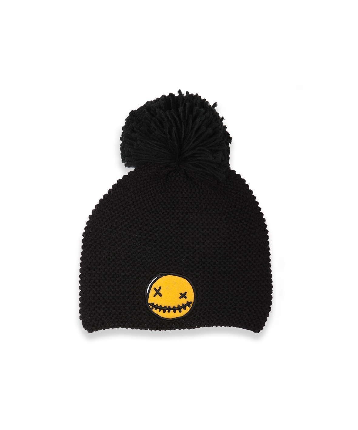 BOB Beanie Pompom Smiley Patch Black