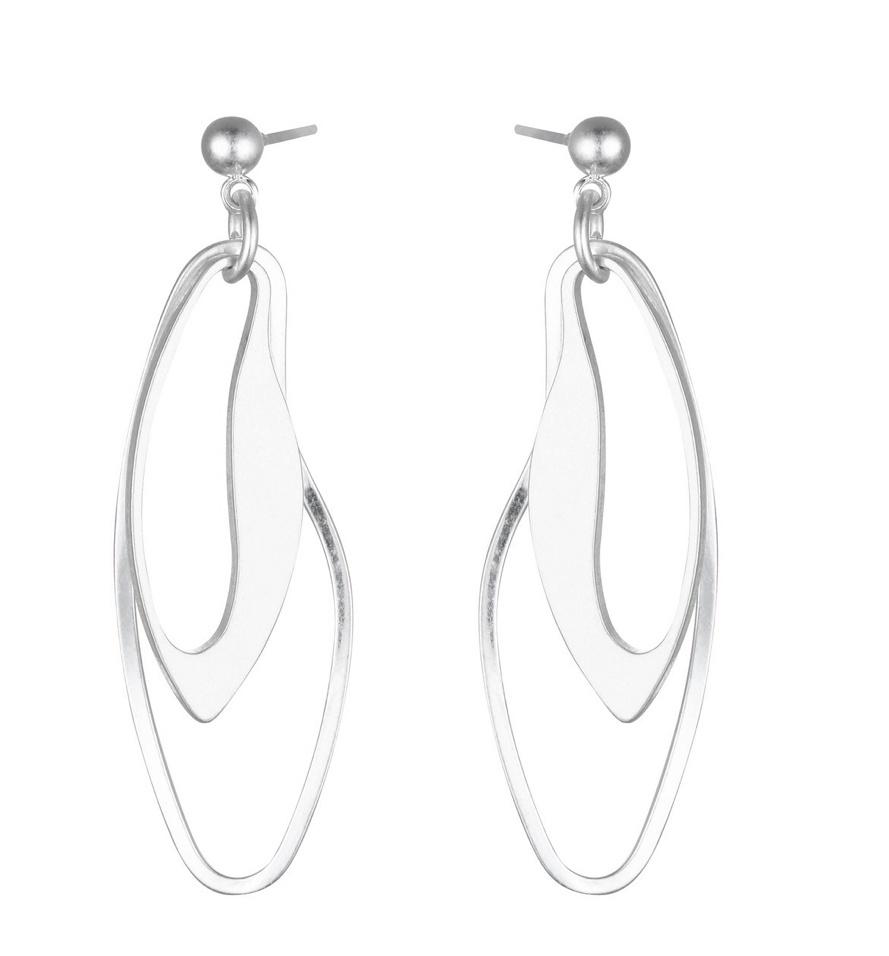 Silver Irregular geo earrings