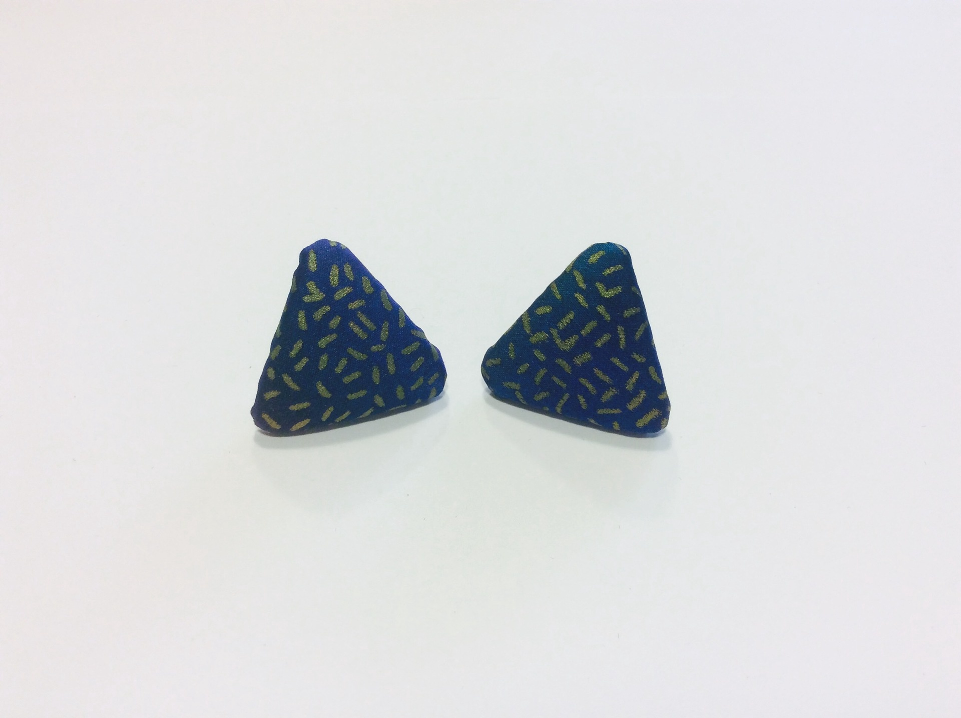 Hand painted silk triangle stud earrings