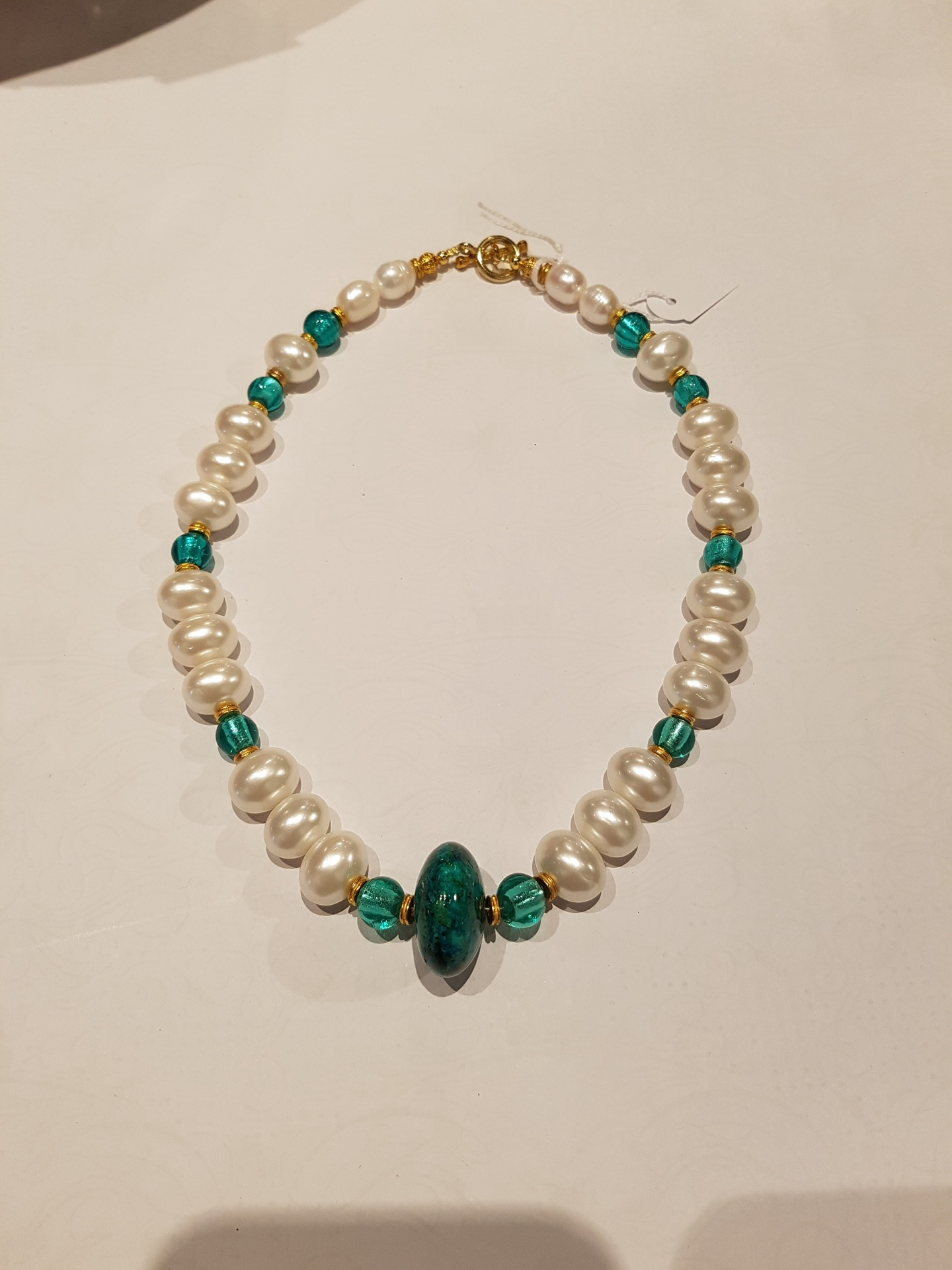 Fresh Water Pearl Necklace with Handmade Turquoise Glass Centre Bead