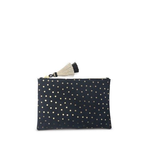Navy Foil Stars Small Pouch