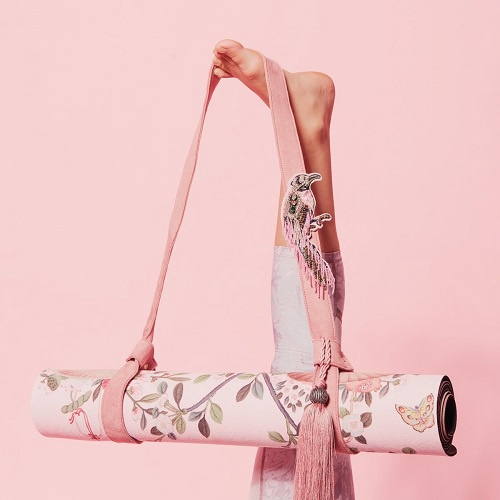 Pink Pampas Yoga Mat Strap