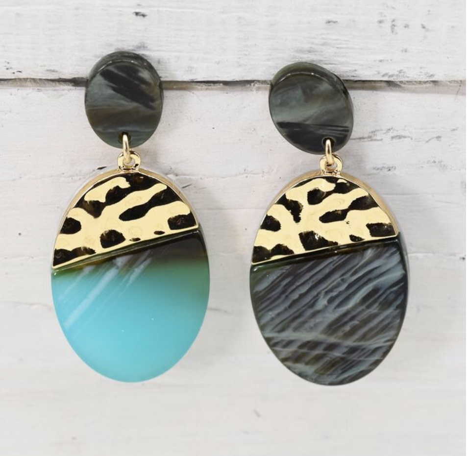 Teal mix oval resin earrings with gold trim