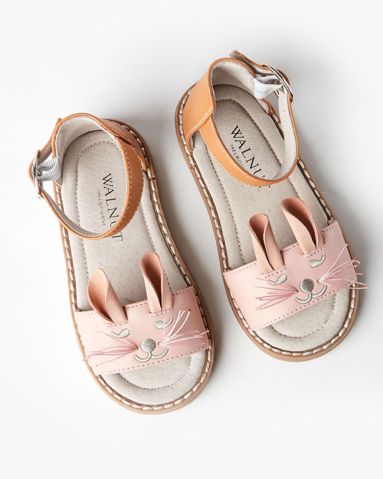 Walnut Bunny Emb Sandal Pink Combo