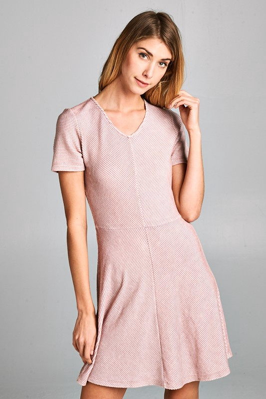 Mauve Fit Flare S/S Dress