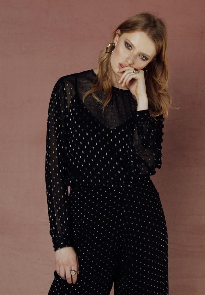 Livia Blouse Black & Gold