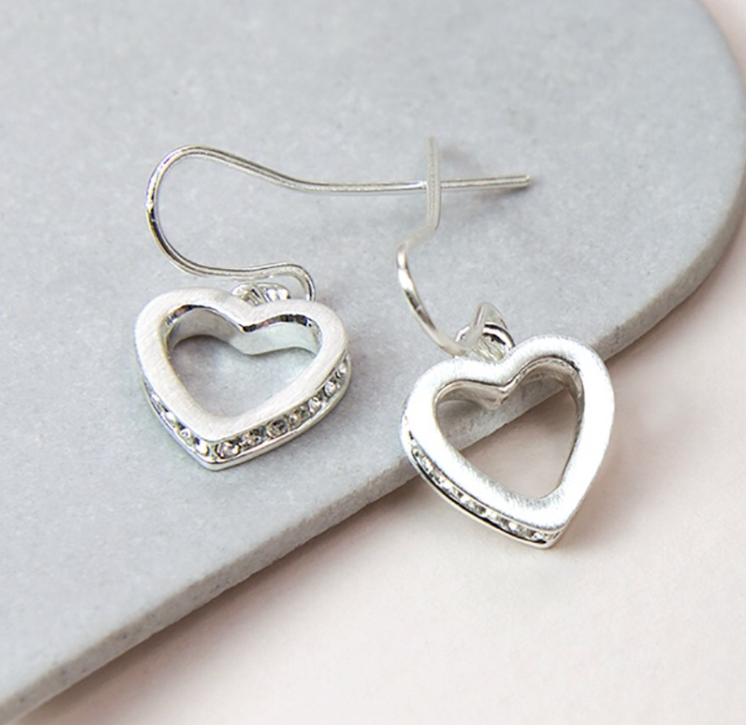 Silver plated heart drop earrings with crystal inset edge