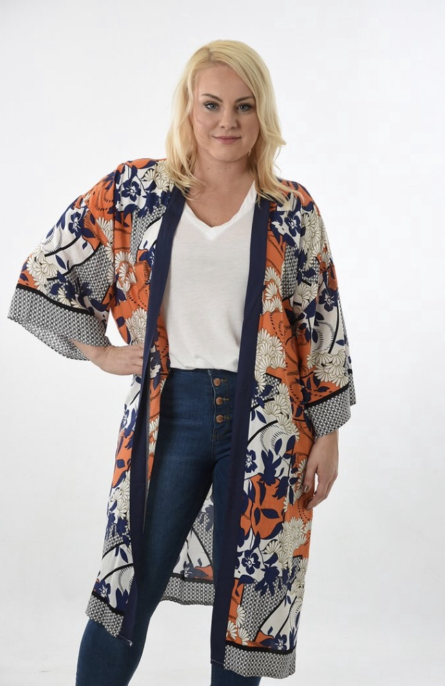 Orange & Navy Long oriental floral kimono