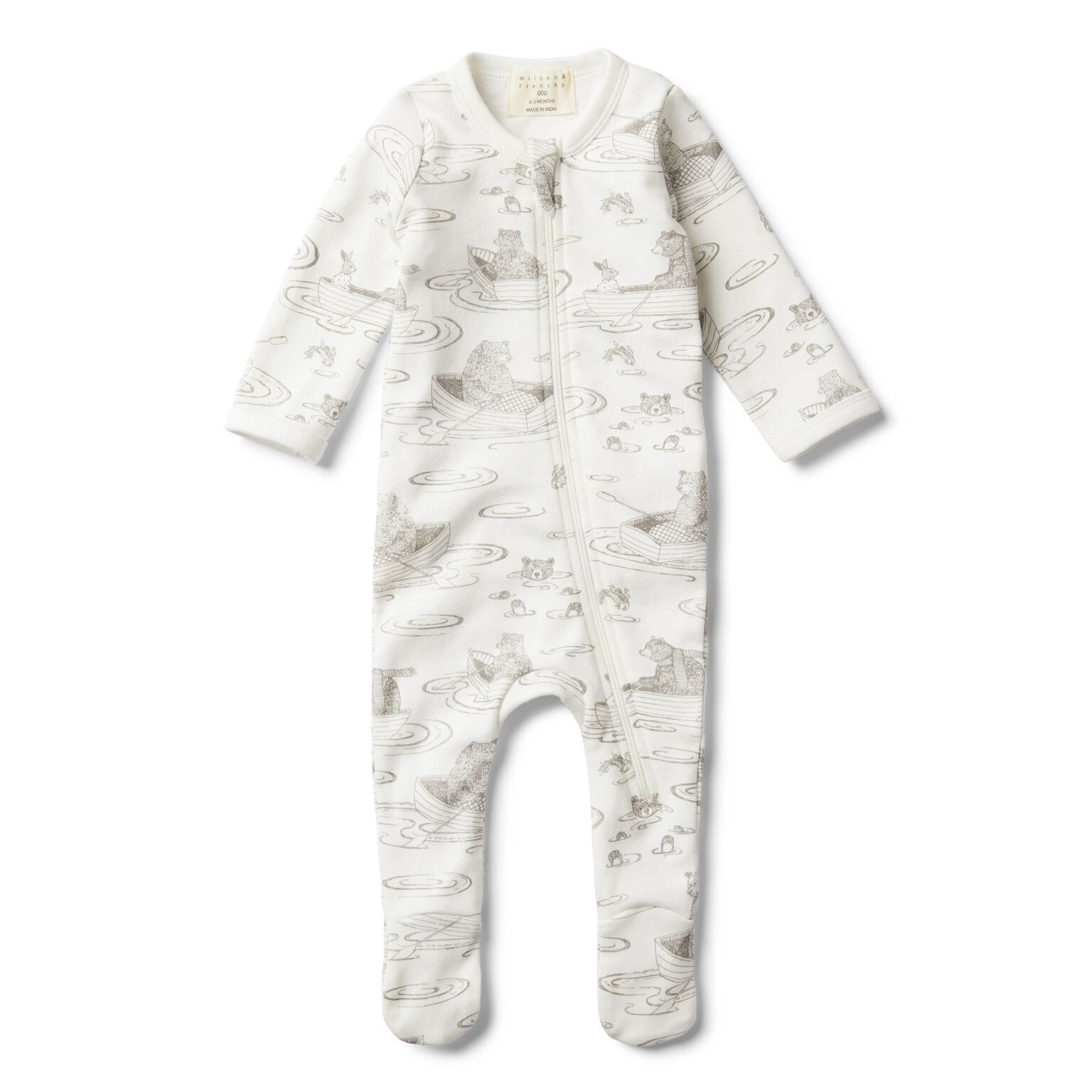 WF Little row boat zip suit with feet