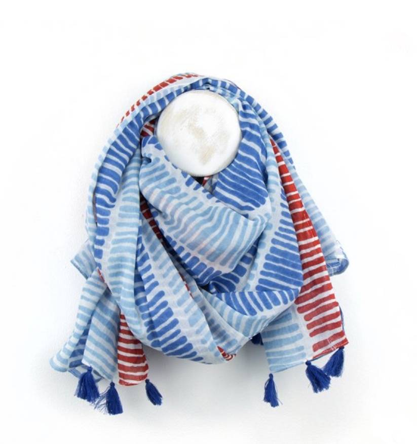 Blue & Red Stripe Cotton Scarf with tassels