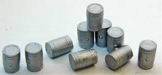 Durango Press #DP-147 HO White Metal Wooden Flour Barrels (10)