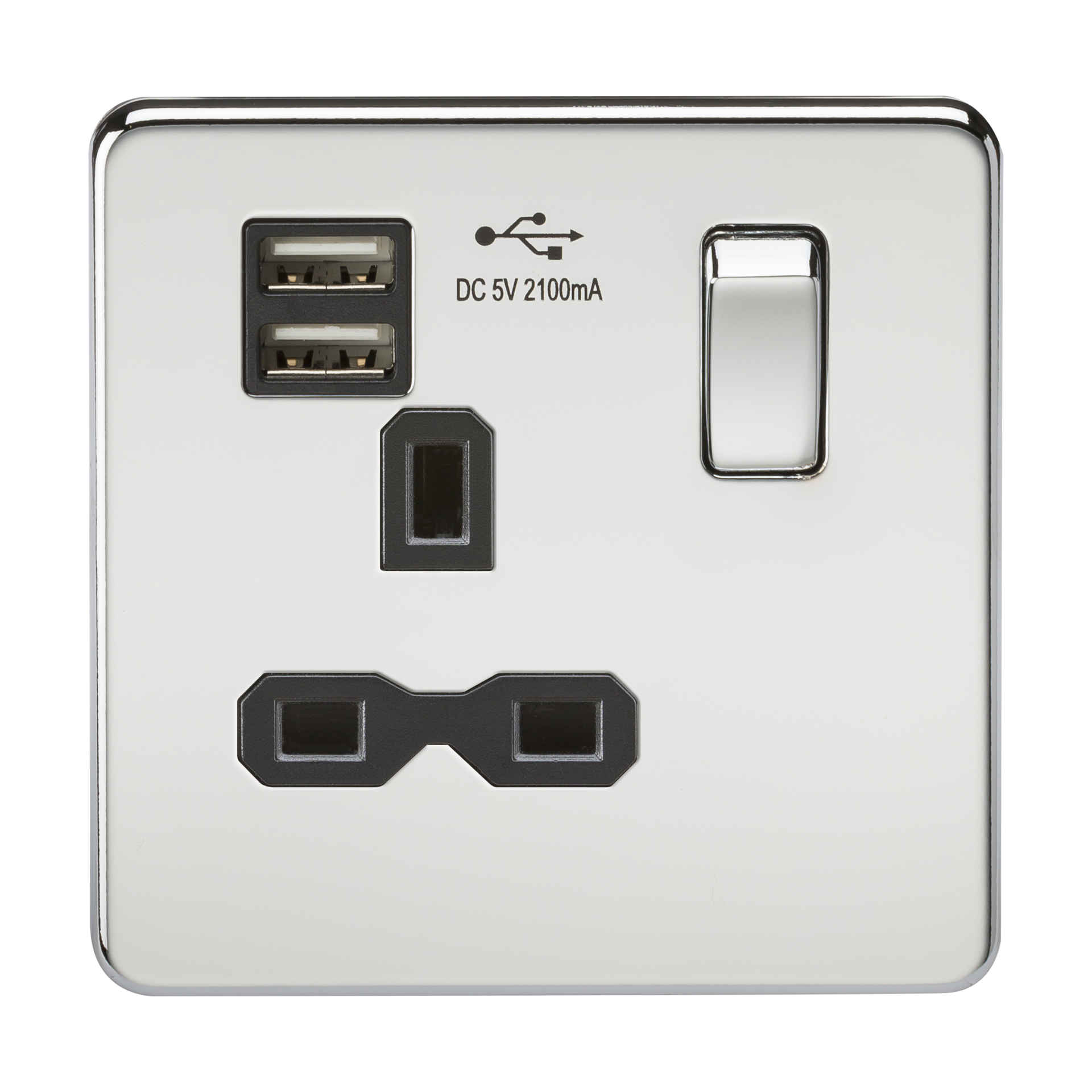 SCREWLESS 13A 1G SWITCHED SOCKET WITH DUAL USB CHARGER - POLISHED CHROME WITH BLACK INSERT