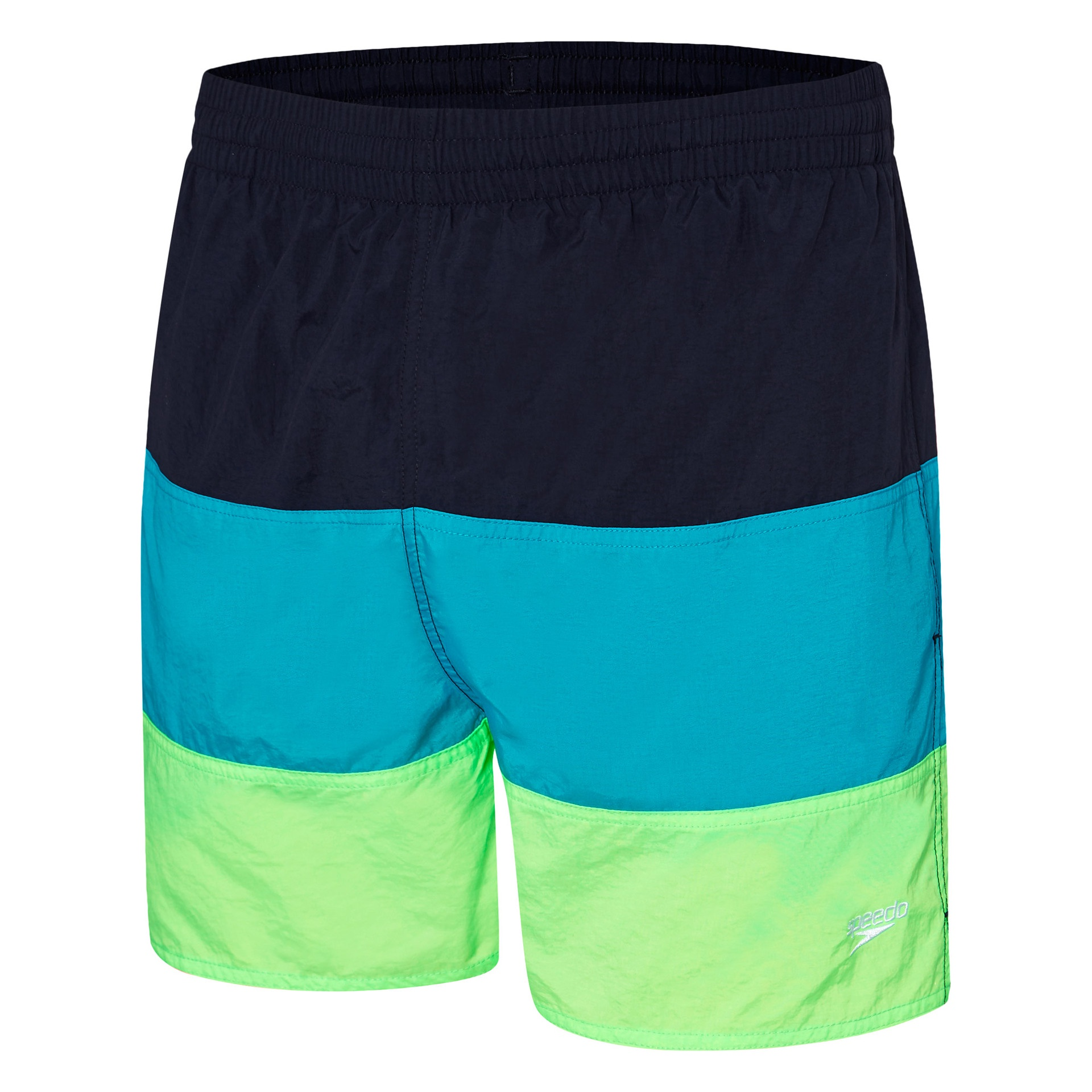 Mens Panel Solid Leisure Short Deep Navy/Scandik/Laser Green