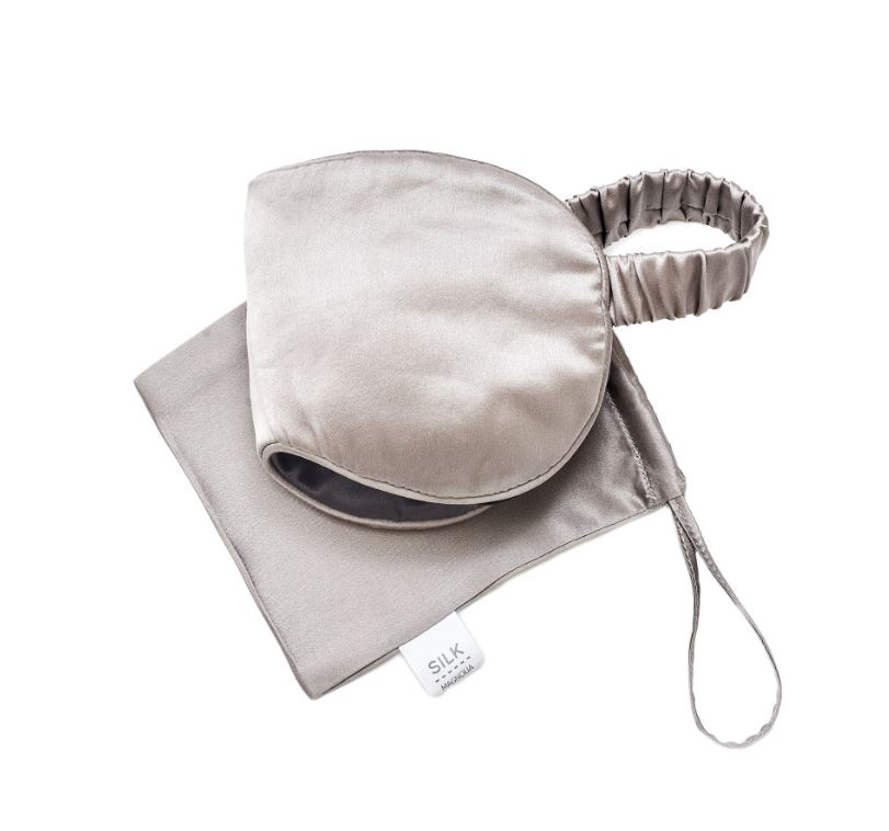 PURE SILK TRAVEL EYE MASK - SILVER MIST