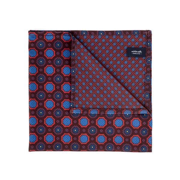 WURKIN STIFFS - POCKET SQUARE IN GEOMETRIC RED
