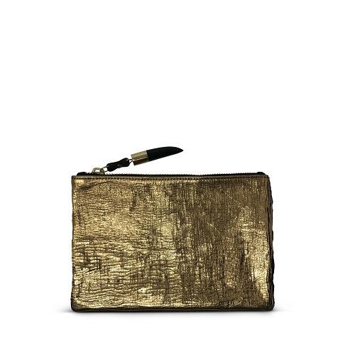 Metallic Rain Gold Small Pouch