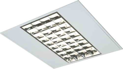 IP20 4x14W T5 Emergency Modular Fitting with Double Parabolic Louvres 595x595x55mm