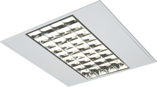IP20 4x14W T5 Modular Fitting with Double Parabolic Louvres 595x595x55mm