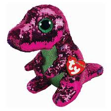 BEANIE BOOS STOMPY PINK/GREEN SEQUIN DINOSAUR