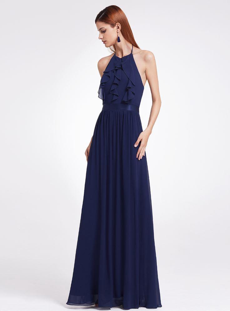 Floor Length Floor - Navy Elegant Halter Ruffles Adjustable bridesmaids Dress, NEW