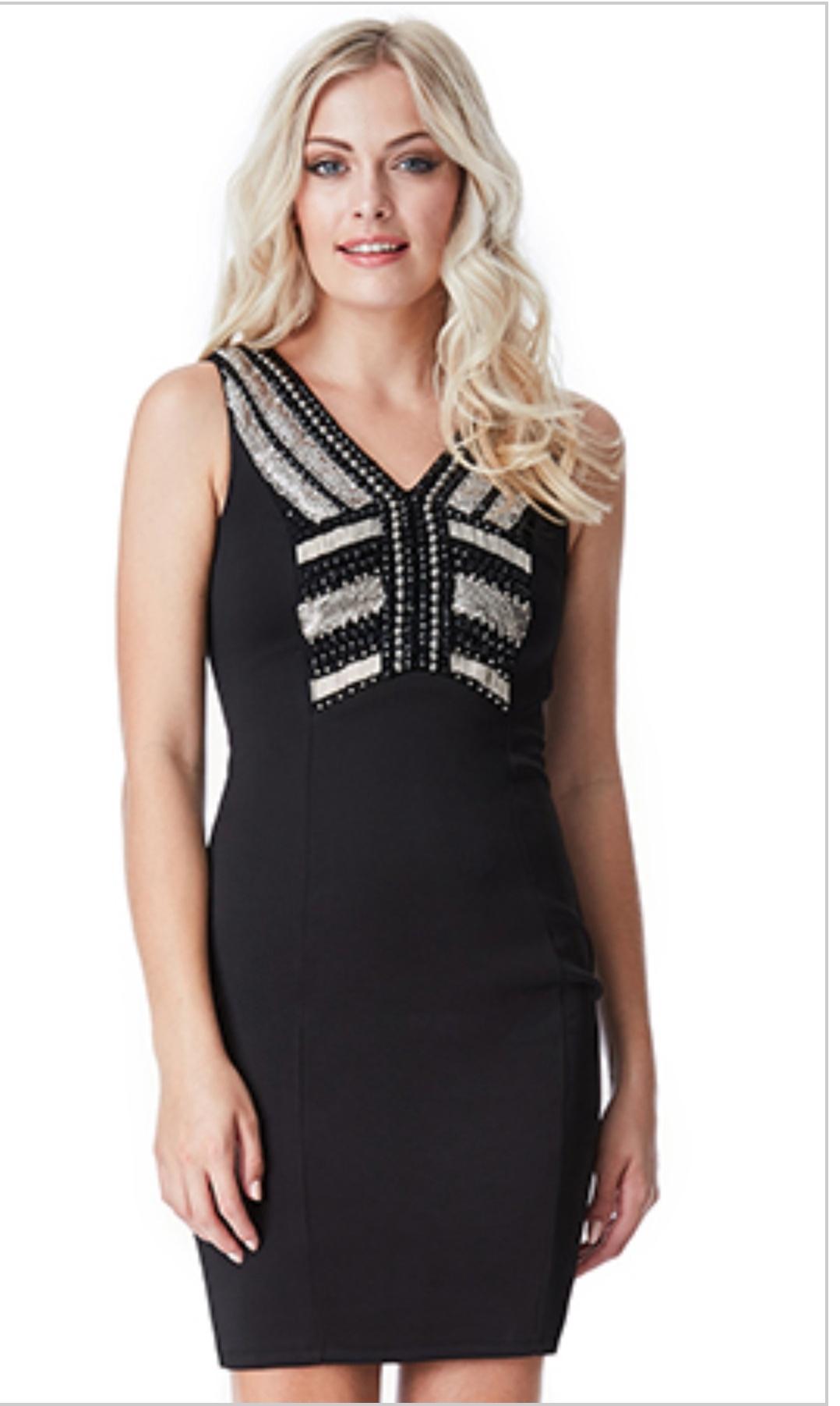 Black embellished bodycon short dress