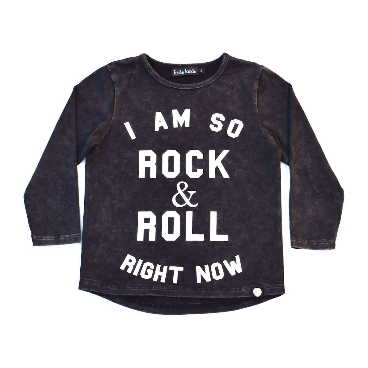 Little Lords Rock & Roll LS Tee Acid Wash