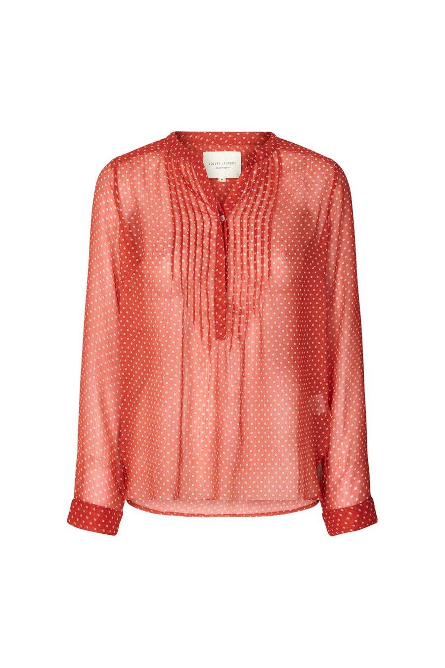 Red & White Spotty Chiffon Shirt