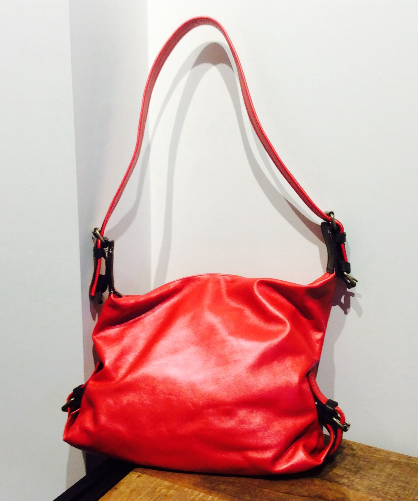 'The Jill' - Red Italian Leather Shoulder Bag