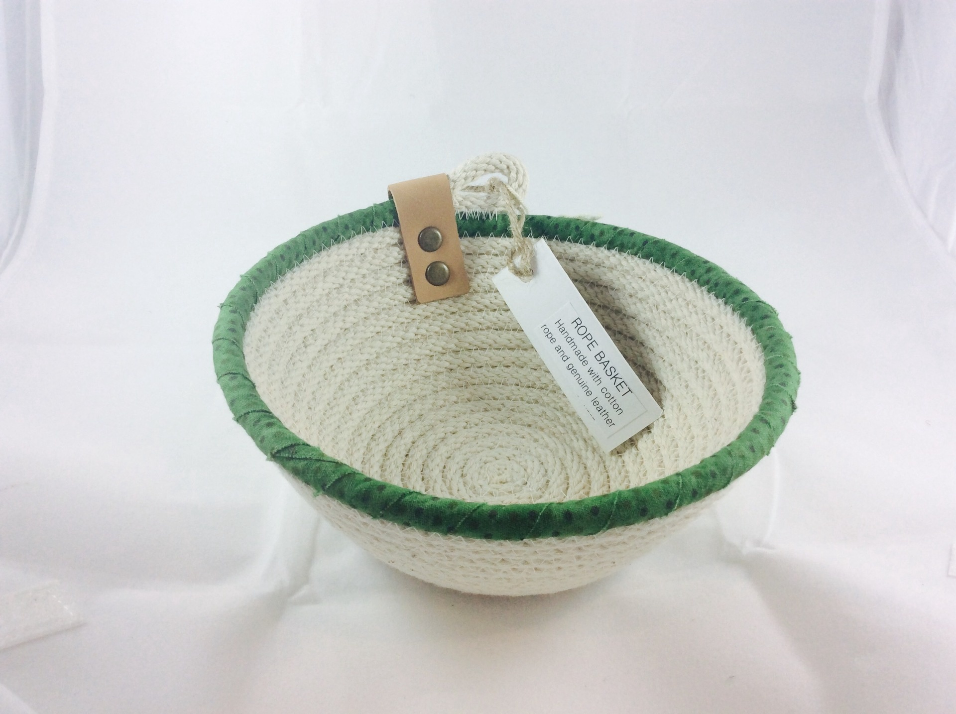 Green Trim Rope Basket - 17 cm