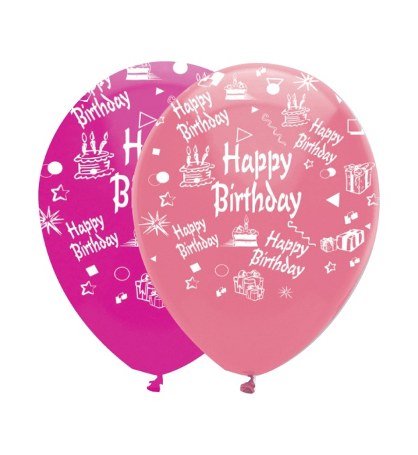 HAPPY BIRTHDAY PINK MIX LATEX BALLOON