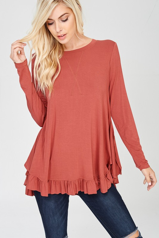 Wishlist L/S Top w Ruffle Across Bottom