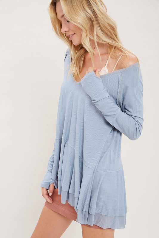 Lt Blue Flowy Top w Layered Ruffle Bottom