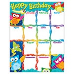 T 38452 OWL STARS HAPPY BIRTHDAY CHART