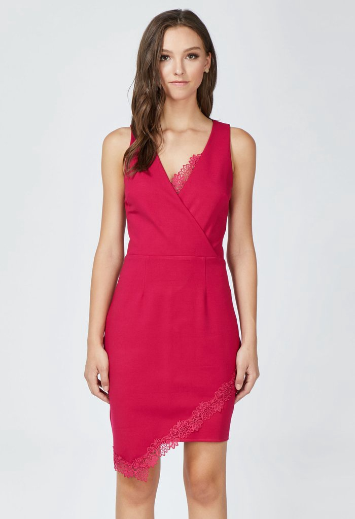Hot Pink Fitted Dress w Lace Accents