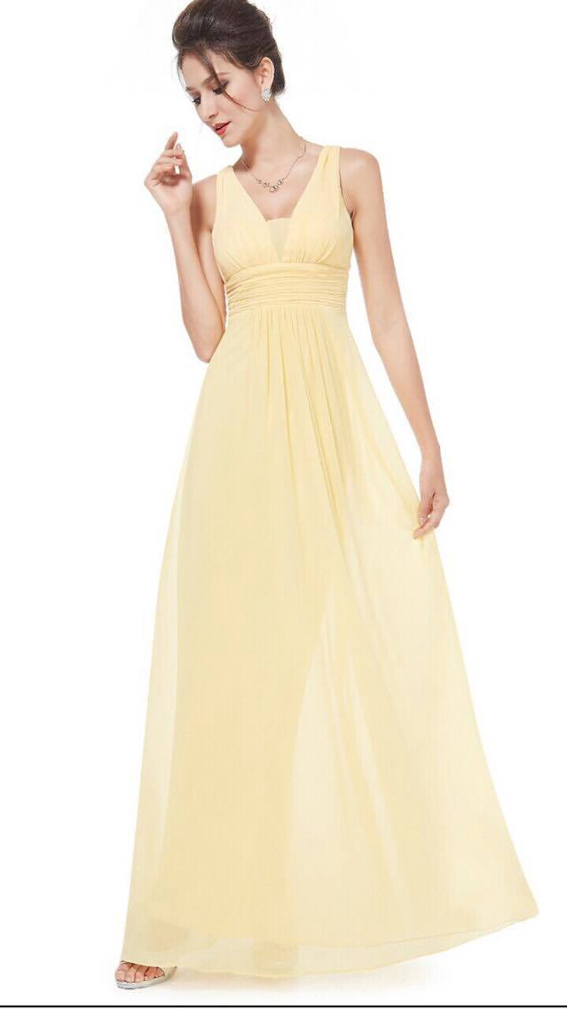 Lemon bridesmaids dresses floor length