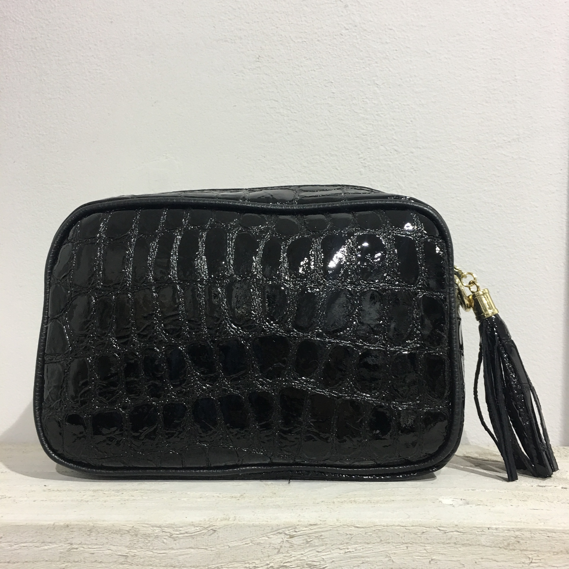 Croc Tassel Cross Body Bag