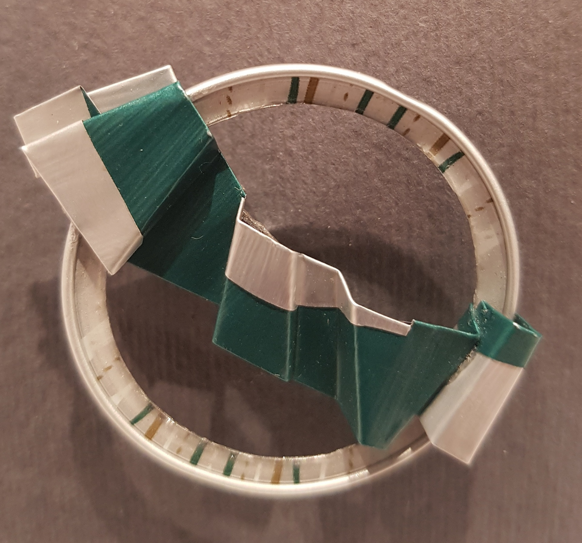 Upcycled anodized aluminium brooch - emerald and silver
