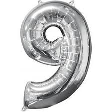 NUMBER 9 SILVER BALLOON 34 INCH