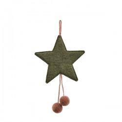 FELT STARS WITH POM POMS - MINERAL GREY/QUARTZ PINK
